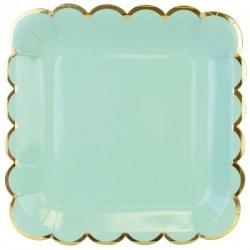 6 Platos de papel verde agua-mint, con festón dorado. 23 cms