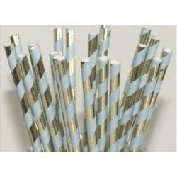 12 Pajitas de papel, rayas azul claro y oro brillo