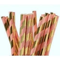 12 Pajitas de papel, rayas rosa pastel y oro brillo