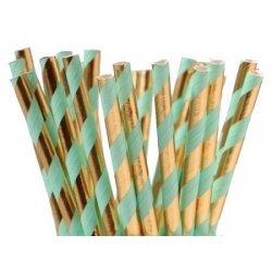 12 Pajitas de papel, rayas verde agua-mint y oro brillo