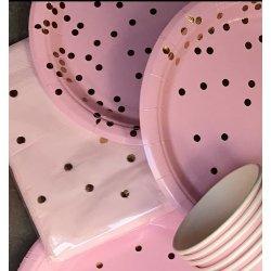 20 Servilletas de papel rosa con lunares-confeti dorados
