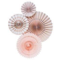 Set de 4 abanicos-molinillos blush-Rosa palo.