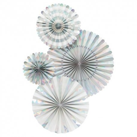 Set de 4 abanicos-molinillos Holográficos-Irisados