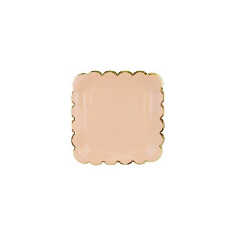 6 Platos de papel rosa asalmonado, con festón dorado. 23 cms