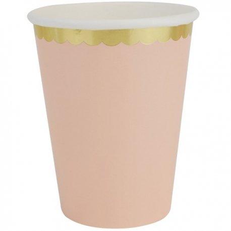 6 Vasos de papel rosa asalmonado, con festón dorado.