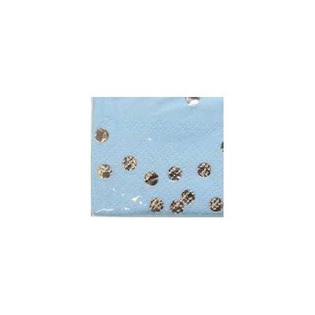 20 Servilletas de papel azul claro con lunares-confeti plateados