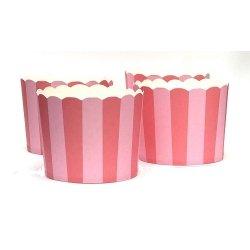 40 Tarrinas-cápsulas de papel para chuches ó helado. Rayas rosa