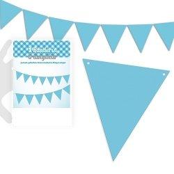 Guirnalda con 25 banderines azul claro liso. 5 m