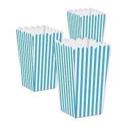 6 Cajas para palomitas. Mini raya azul