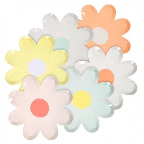12 Platos en forma de flor con colores surtidos. Daisy Meri Meri