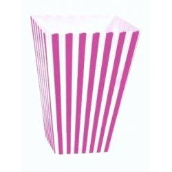 6 Cajas para palomitas. Rayas rosa fucsia