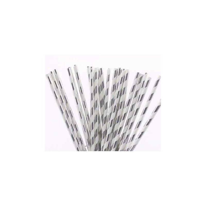 12 Pajitas de papel, rayas plata brillo