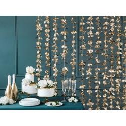 Cortina de flores doradas - Fondo photocall - Back drop - Mesas Dulces.