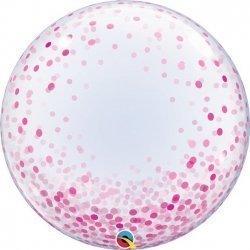 Globo burbuja, confeti rosa. 60 cms.