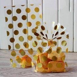 25 Bolsas de celofan transparente con lunares dorados. 13x21 cms