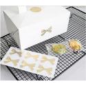 24 Lazos adhesivos. Transparentes impresos en dorado