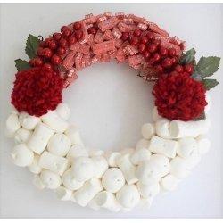 Corona de Navidad con chuches. Pompones
