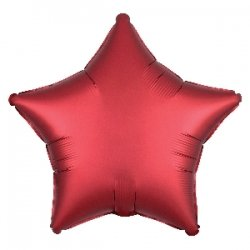 Globo metalizadorc Estrella satín Rojo-granatoso. 45 cms
