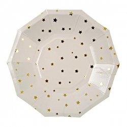 6 Platos de papel blancos con estrellas doradas. 18 cms