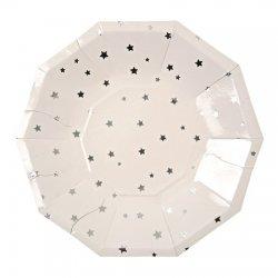 6 Platos de papel blancos con estrellas plateadas. 18 cms