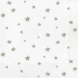 20 Servilletas de papel, Estrellas plateadas