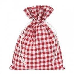 4 Sacos de tela, Cuadros Vichy Rojo 17x24 cms