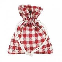 10 Sacos de tela, Cuadros Vichy Rojo 9x12 cms