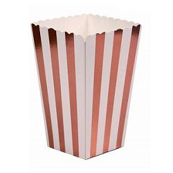 8 Cajas-Vaso para palomitas. Rayas oro rosa metalizadas