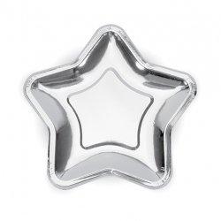 6 Platos de papel en forma de estrella. Plata 18 cms