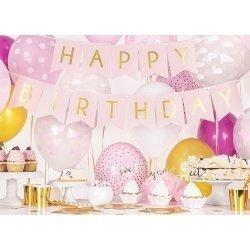 Guirnalda Happy Birthday, rosa y oro