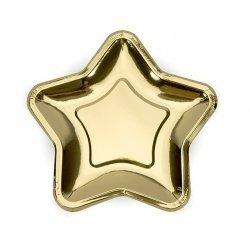 6 Platos de papel en forma de estrella dorada. 18 cms