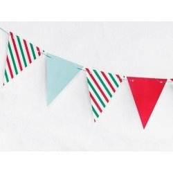 Guirnalda navideña, rayas verdes, rojas y mint. Mide 1.3 m