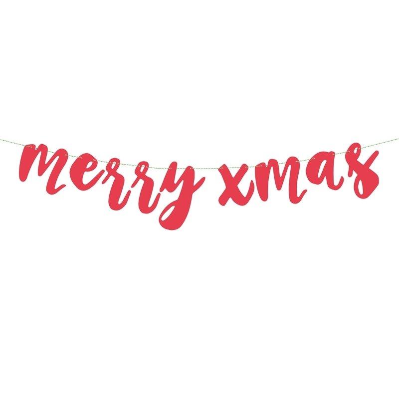 Guirnalda navideña roja. Merry Christmas