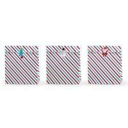 3 bolsas-sobres rayas navideñas, con pegatinas. 25 x 11 x 27 cm.