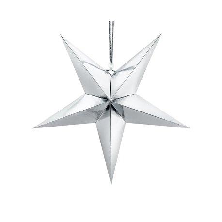 Estrella de papel plata. 30 cms.