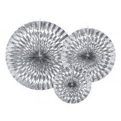 3 Abanicos plata brillo