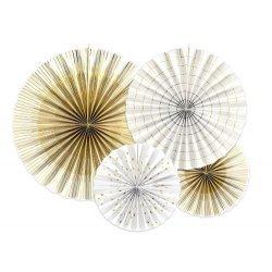 Set de 4 abanicos-molinillos, Blancos con detalles dorados