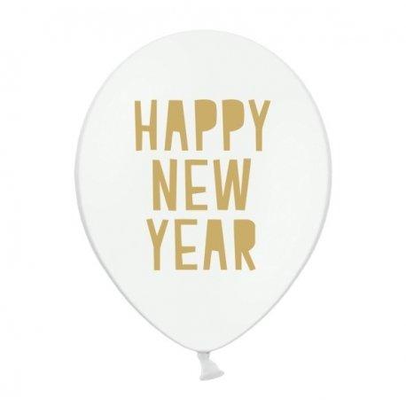 10 Globos blancos con texto dorado. HAPPY NEW YEAR