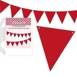 Guirnalda con 25 banderines rojos liso. 5 m