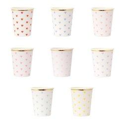 12 Vasos de papel con corazones. Pastel heart de Meri Meri