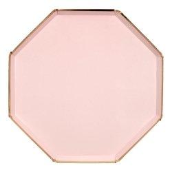 8 Platos de papel Rosa Pale, con filo dorado