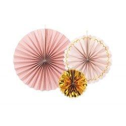 Set de 3 abanicos-molinillos, Rosa y oro