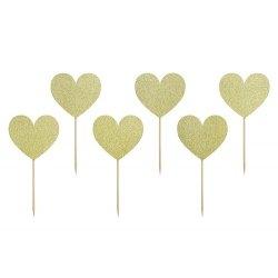 6 Toppers corazón dorado