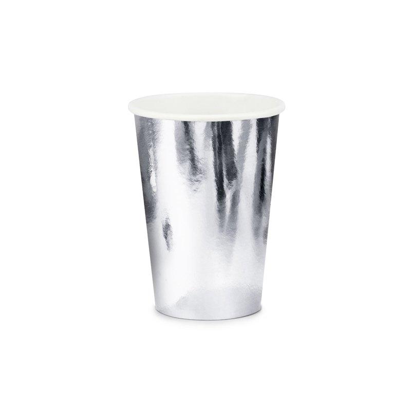 6 Vasos de papel, plata metalizada