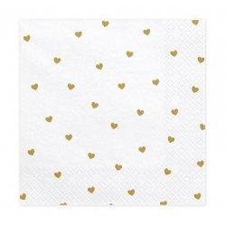 20 Servilletas de papel, Corazones dorados