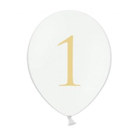 Globo blanco con número dorado a elegir. Del 0 al 9