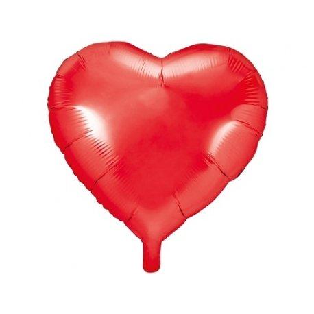Globo corazón, rojo metalizado. 61 cms