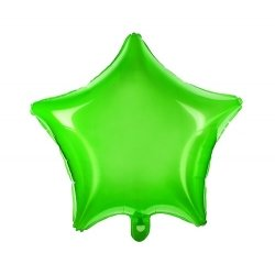 Globo estrella verde neón, metalizado. 48 cms