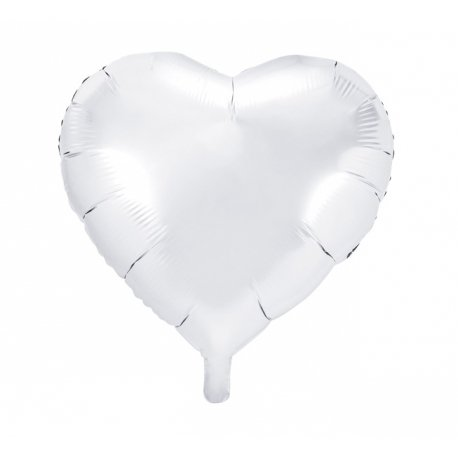 Globo corazón Blanco metalizado. 45 cms