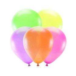 5 Globos Flúor-Neón, 25 cms. Color surtido